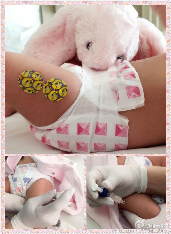 章子怡晒女儿打疫苗