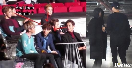 EXO成员XIUMIN、灿烈、SUHO同时看向KAI