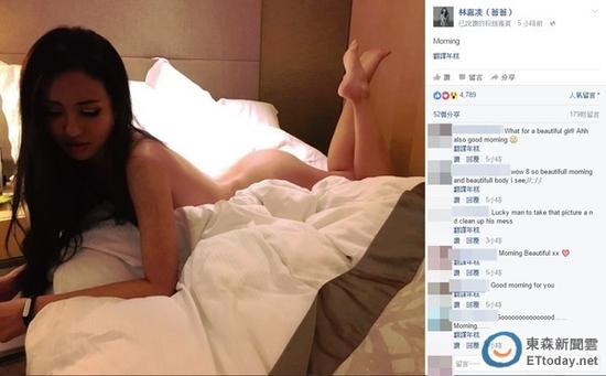 蔷蔷贴出在饭店拍摄的全裸辣照,让网友看了大赞超性感