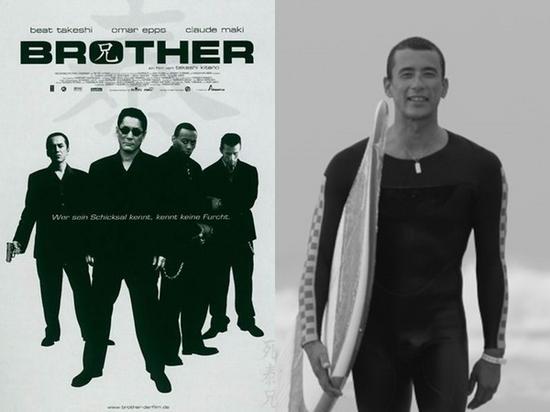 真木藏人(左图右一)拍过黑帮电影《四海兄弟》,热衷冲浪曾当过国手