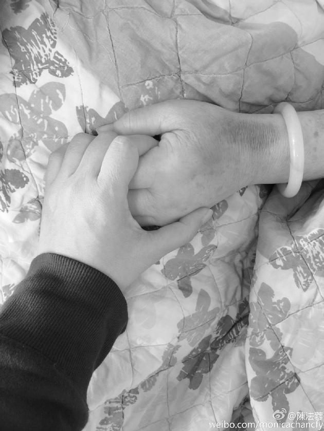 陈法蓉握着妈妈的手