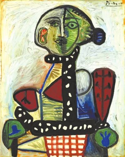 毕加索作品《盘发髻女子坐像》