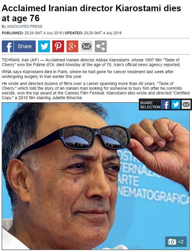 伊朗著名导演阿巴斯因癌症去世