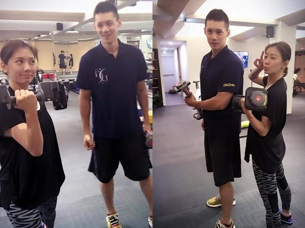 贾静雯产瘦积极进行健身运动