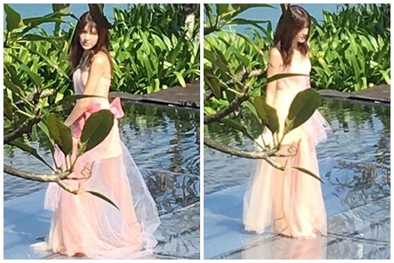 婚礼伴娘许玮宁在巴厘岛酒店拍摄美照