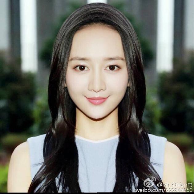 粉丝PS王鸥对称脸称其真美人
