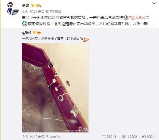 张翰微博截图