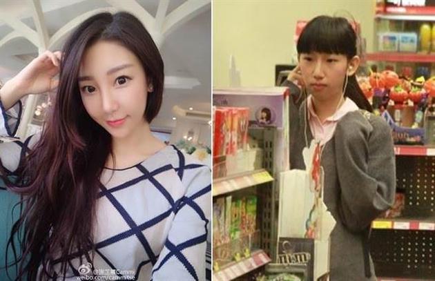 谢芷蕙2011年被拍到素颜上学(右),与现在差别很大