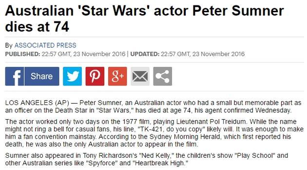 《星球大战》彼得-萨姆纳去世