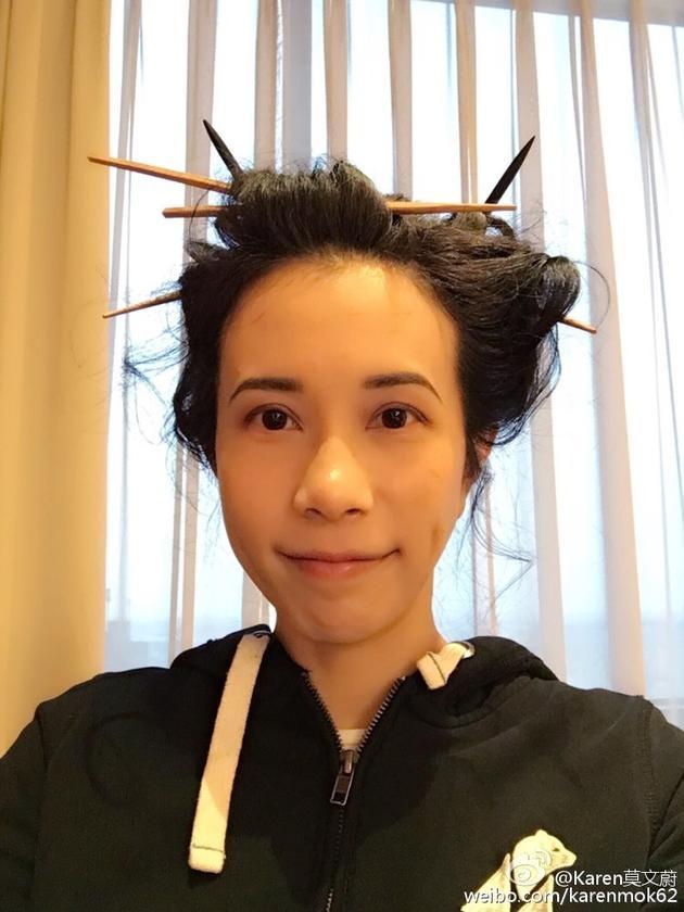 莫文蔚筷子头造型
