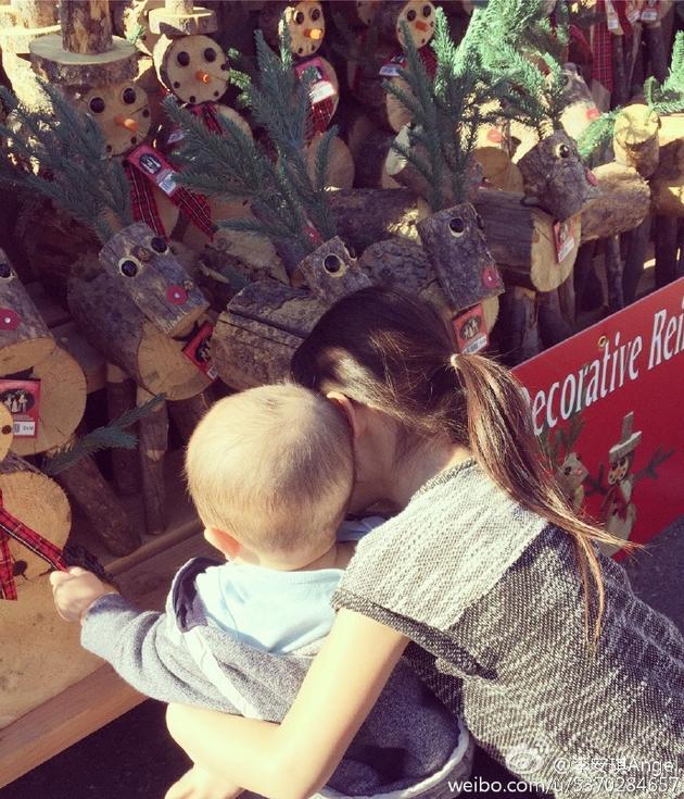 奥莉抱弟弟挑圣诞树
