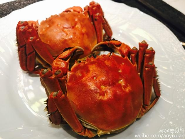 安以轩在家吃大闸蟹