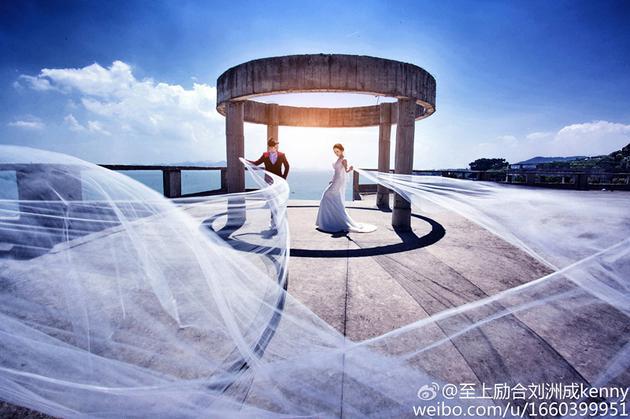 刘洲成林苗浪漫婚纱照