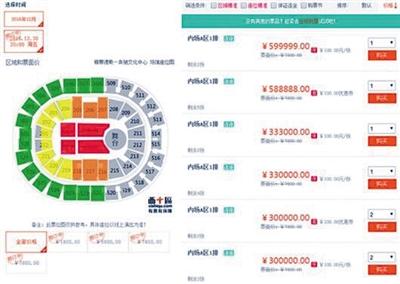 一票务网站显示最高票价达到599999元
