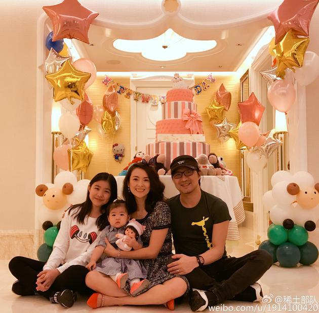 章子怡、汪峰和两个女儿