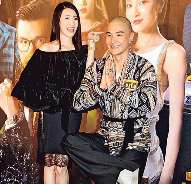 首次做女一的林夏薇与剃了头的陈展鹏为贺岁剧《乘胜狙击》做宣传。