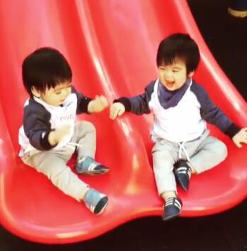 林志颖的双胞胎儿子玩滑梯