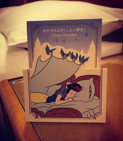 福原爱在微博上晒出一张白雪公主的卡片