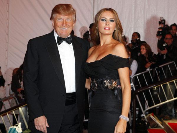 美国总统川普与妻子梅拉尼娅