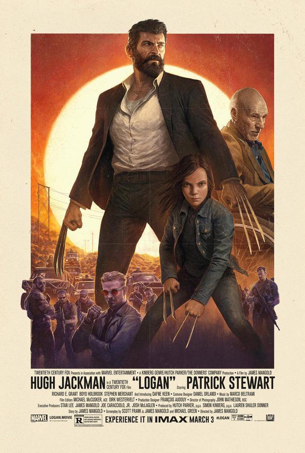 西部风格的海报,经典西部片《原野奇侠》的精髓也贯穿《金刚狼3》始终