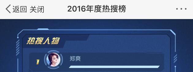 郑爽是2016年热搜明星的第一名