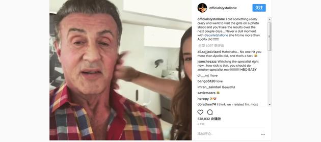 史泰龙在Instagram上传的小视频截图