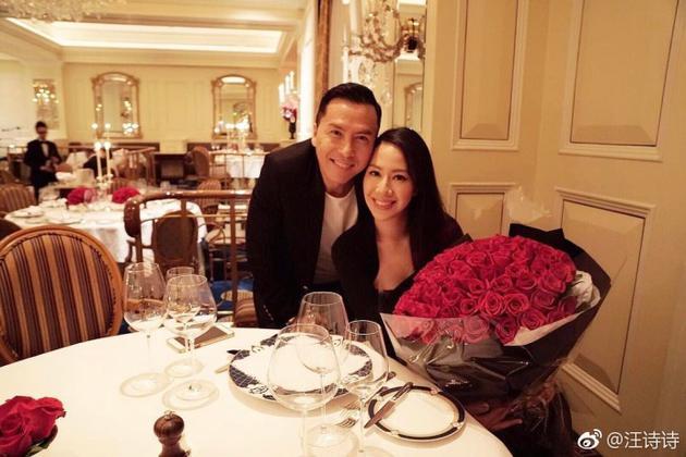 爱妻汪诗诗过36岁生日 甄子丹玫瑰名表送不停
