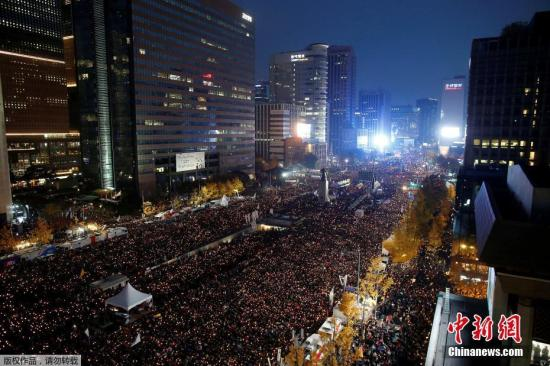 韩国烛光集会 来源:中新网