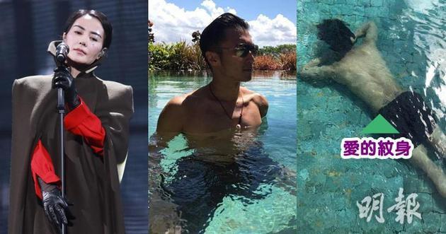 谢霆锋游泳分享与王菲爱的纹身,十分甜蜜恩爱。