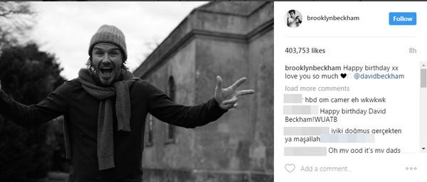 儿子布鲁克林也送上祝福