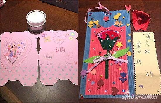 黄嘉千母亲节收到夏克立,夏天的手绘贺卡和手工玫瑰花