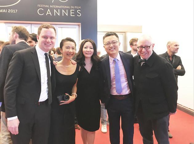 《炼狱信使》主创(从左至右):Joe Pirro、王珊、董文洁、李飞、James Schamus