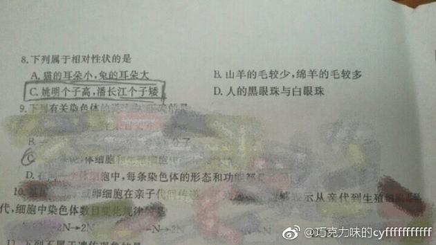潘长江和姚明身高对比成考试题 自侃:被黑无所谓