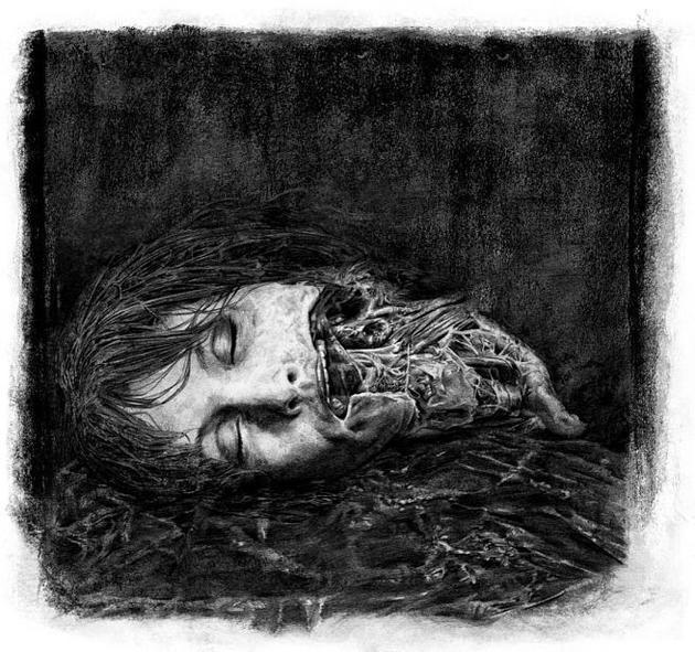 大卫绘制的肖和异形的画之一,真正的作者Matt Hatton(对比前面的水平,十年练成了画画大手……)