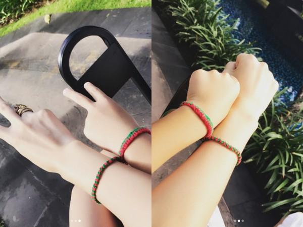 陈若仪和Kimi一起戴著他做的手环