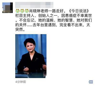 央视主持人肖晓琳病逝 赵忠祥:我会怀念她