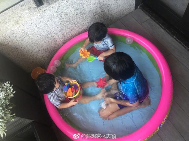 林志颖晒三子嬉戏 Kimi将两个弟弟照顾的很好