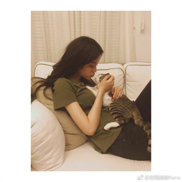 欧阳娜娜称爱猫为儿子晋升猫奴 亲亲自拍爱不释手