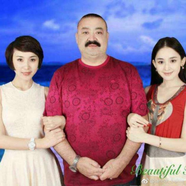 古力娜扎姐妹与父亲合照