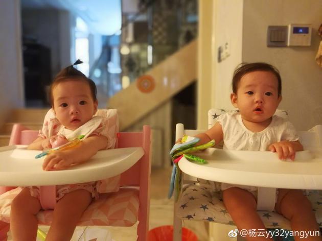 杨威双胞胎女儿可爱呆萌 杨芸:快长大陪妈妈逛街