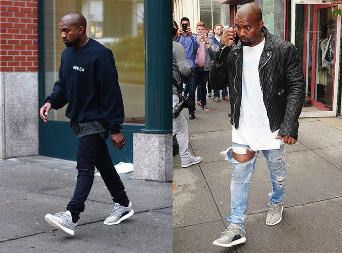 """""""侃爷""""KanyeWest和他的椰子鞋。KanyeWest,美国说唱歌手、音乐制作人、商人。(图片来自网络)"""
