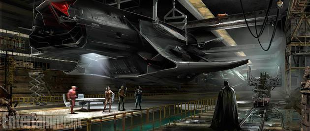 《正义联盟》曝概念图 蝙蝠侠高科技狐蝠战机抢镜