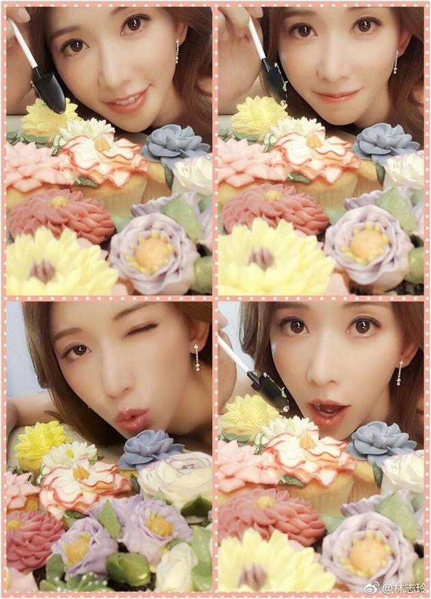 林志玲与花朵比美 电眼wink嘟嘴卖萌超可爱