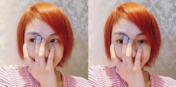 范玮琪染橘色头发自拍 网友:好像海贼王的娜美