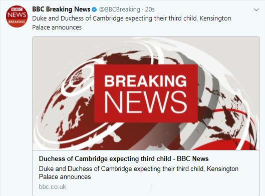 英国肯辛顿宫宣布,凯特王妃怀上了她和威廉王子的第三个宝宝。