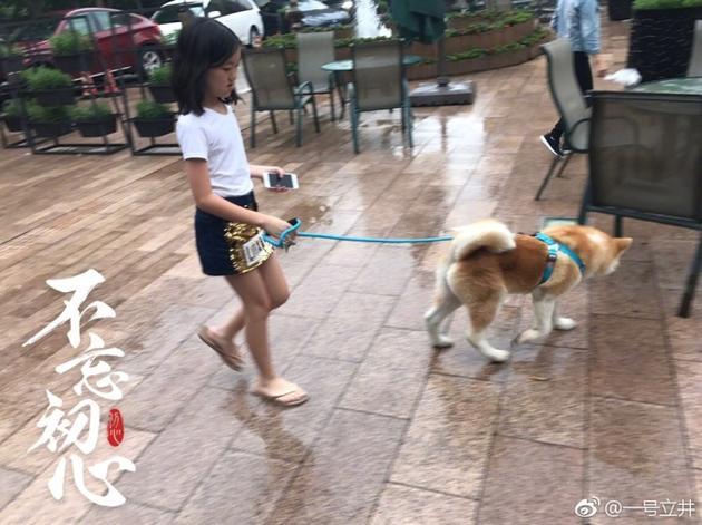 李亚鹏晒李嫣牵爱犬散步照片 身材纤瘦气质沉静