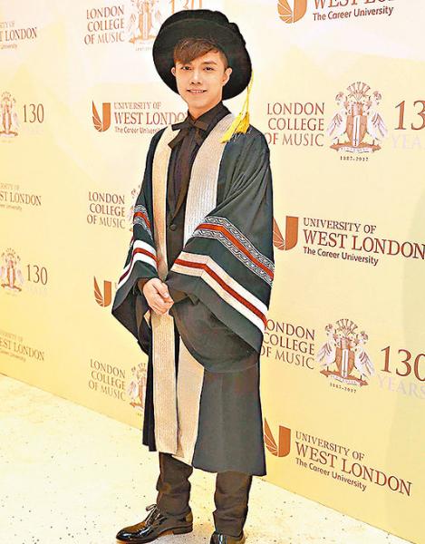 张敬轩获英国伦敦音乐学院颁授硕士学位