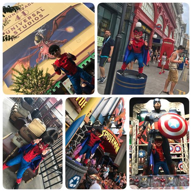 吴尊儿子MAX变身小蜘蛛与超级英雄合影