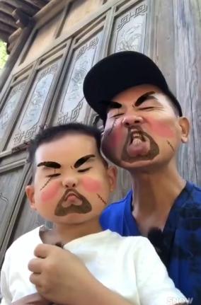 陈小春和儿子扮恶搞鬼脸超凶 网友:把我吓哭了