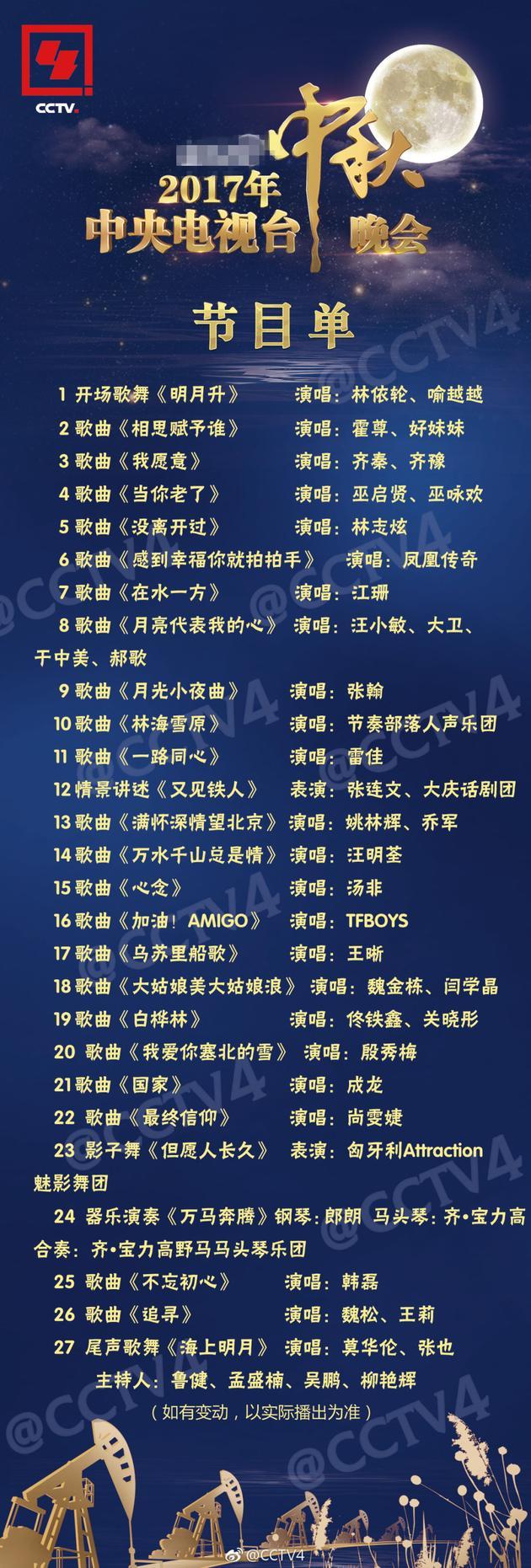 2017央视中秋晚会节目单曝光 成龙张翰TFBOYS献唱